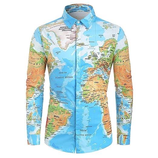b7da9a67 Letdown_Men tops Men Button Down Shirts Long Sleeve Graphic World Map Print  Slim Fit Shirt Top