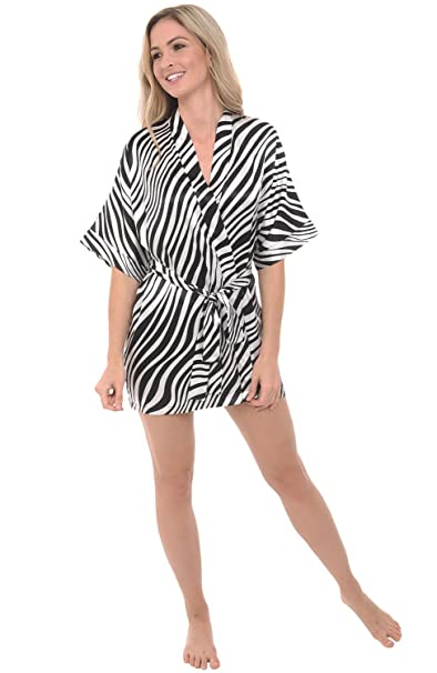 Del Rossa Womens Printed Satin Robe, Short Dressing Gown at Amazon ...
