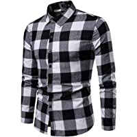 N /C Men 's Long Sleeve Shirt Button Up Business Work Plaid Formal Plain Shirts