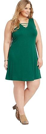 de3bd3fe0b5 maurices Women s Plus Size 24 7 Lattice Neck Swing Dress at Amazon ...