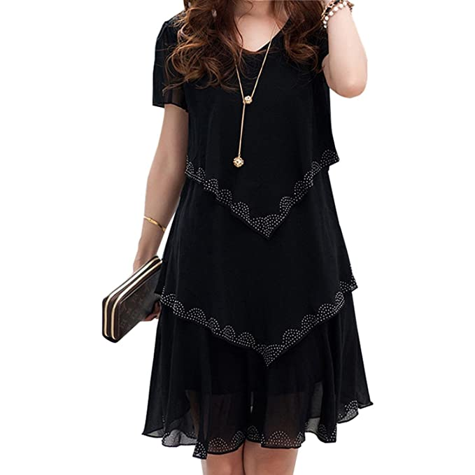 fafc2891c8e COOCOl 5XL Plus Size Women Clothing 2018 Chiffon Dress Summer Dresses Party  Short Sleeve Casual Vestido De Festa Blue Black Robe Femme Red Dress 5XL at  ...
