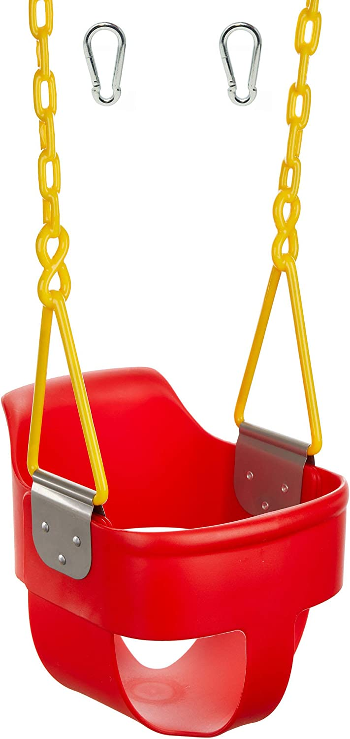 Squirrel Products High Back Full Bucket Toddler Swing 2.0 with Pinch Protection Technology Plastic Coating Design and Carabiners for Easy Install - Red