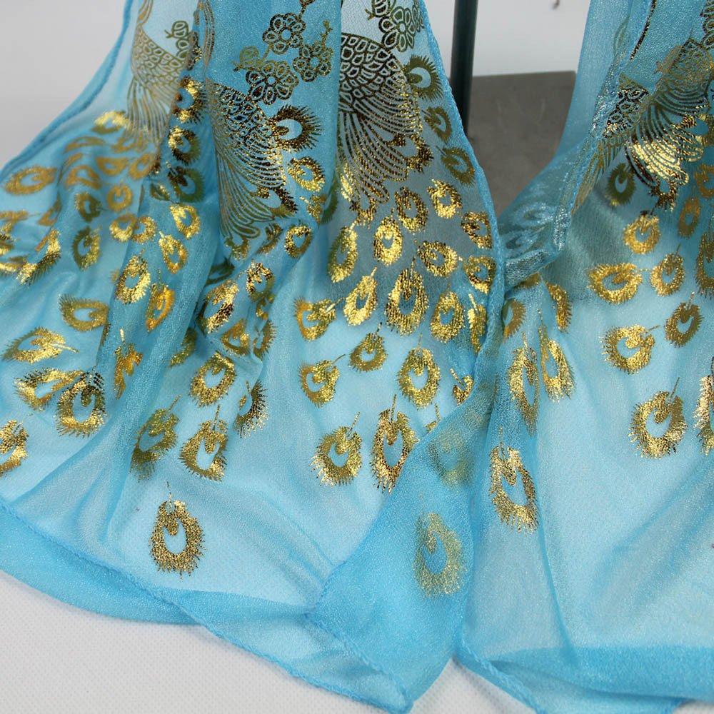 UONQD Women Lady Multi-color Peacock Flower Scarf Long Soft Wrap Shawl Stole Pashmina
