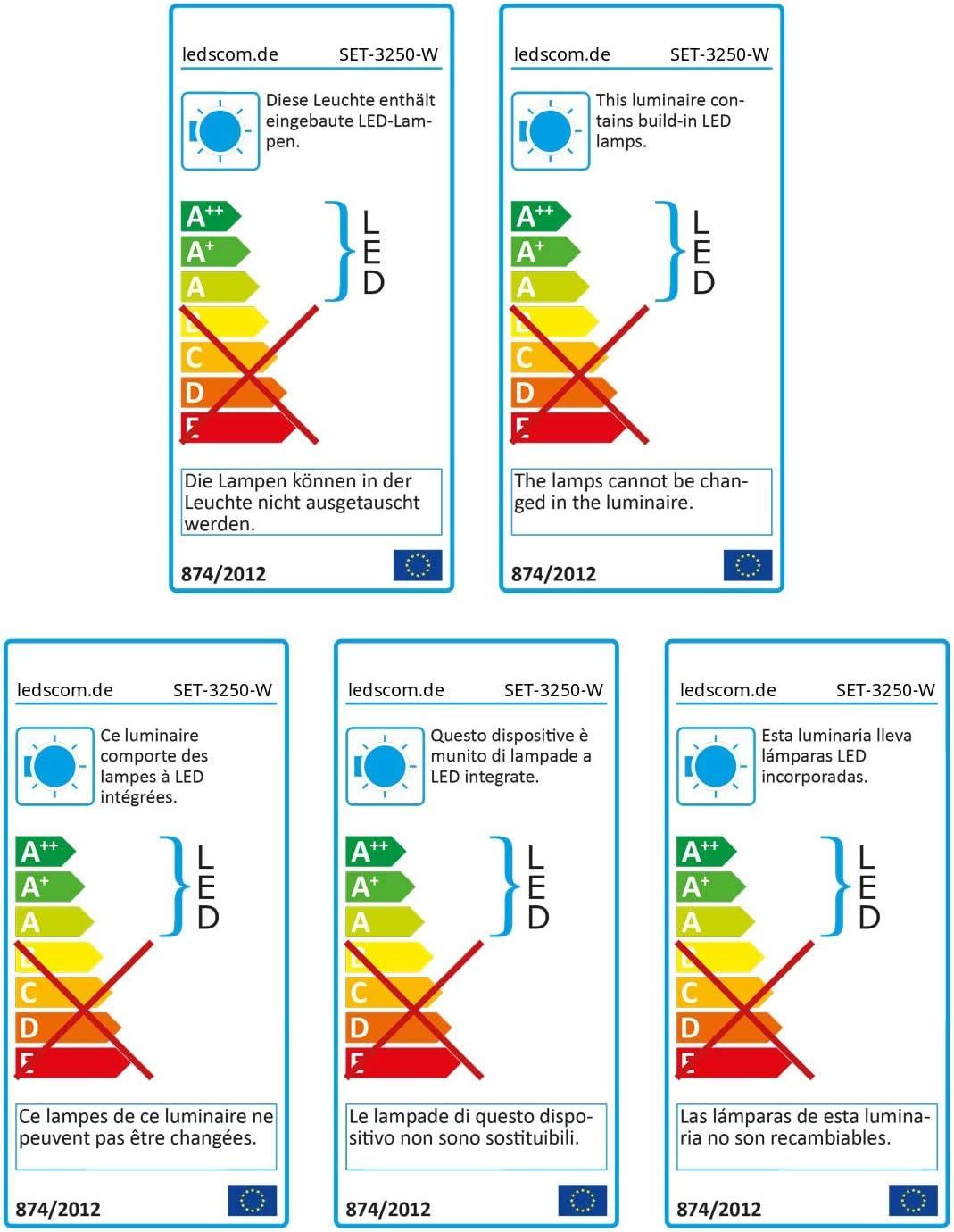 ledscom.de LED Unterbau-Leuchte SIRIS weiß matt, flach, je 50cm, 490lm, weiß, 3er Set Einzeln