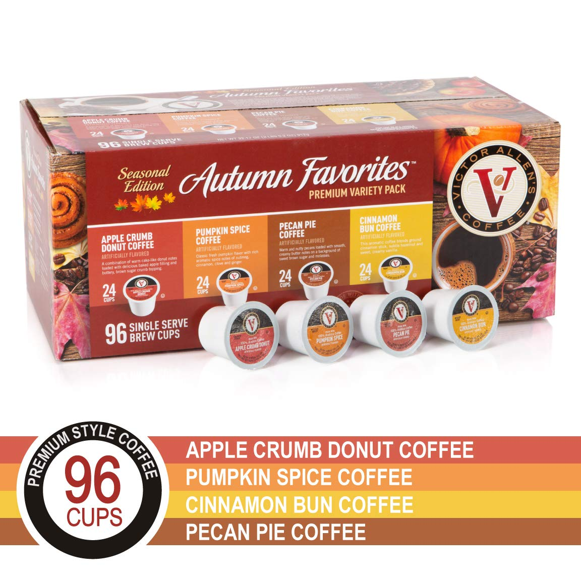 Autumn Favoritesfor K-Cup Keurig 2.0 Brewers, 96 Count, Victor Allen's Coffee Single Serve Coffee Pods