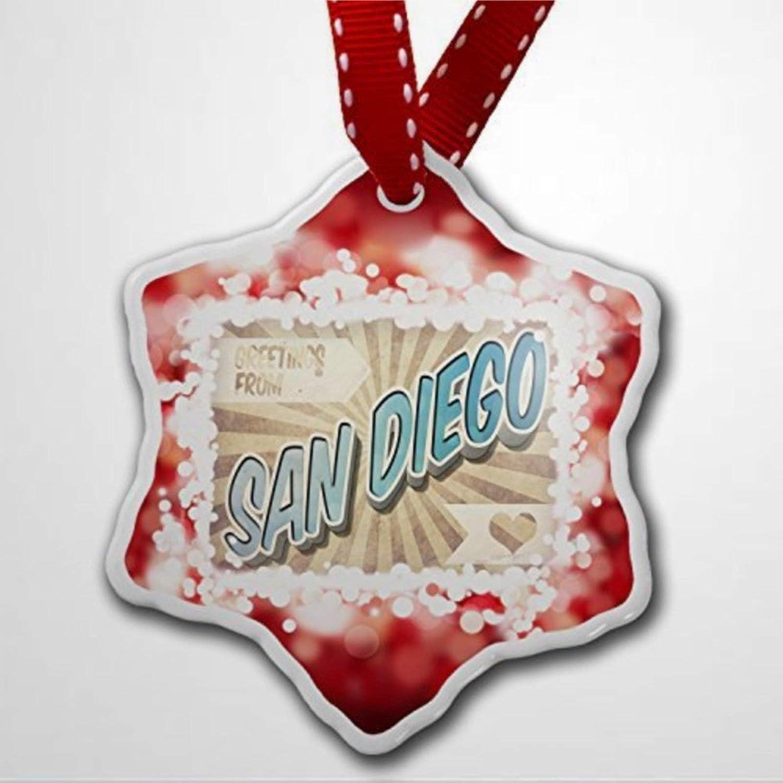 BYRON HOYLE ornamento di Natale Saluti da San Diego Cartolina Vintage Ornamento Rosso Ornamenti di Natale Pandemia Decorazione di Natale Matrimonio Ornamento Vacanza Regalo