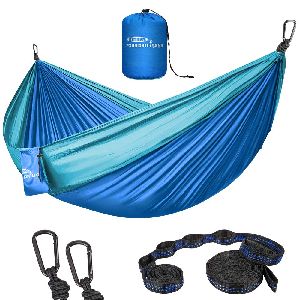 Forbidden Road Hammock Double Camping Portable Parachute Hammock for Outdoor Hiking Travel Backpacking - 210D Nylon Taffeta Hammock Swing - Support 660lbs Ropes (Dark Blue & Baby Blue) by Forbidden Road