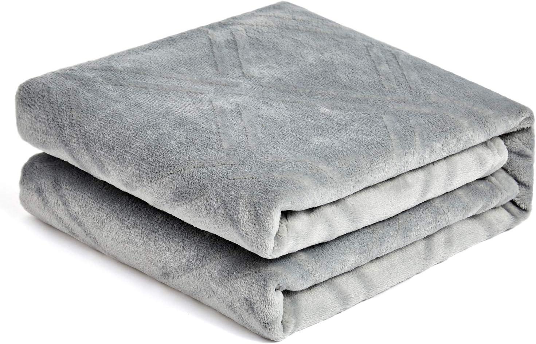 HT&PJ Super Soft Lightweight Flannel Fleece Throw Blanket Microfiber Velvet Cozy Warm Throw Blanket for Living Room (Light Grey, (Throw50 X 60