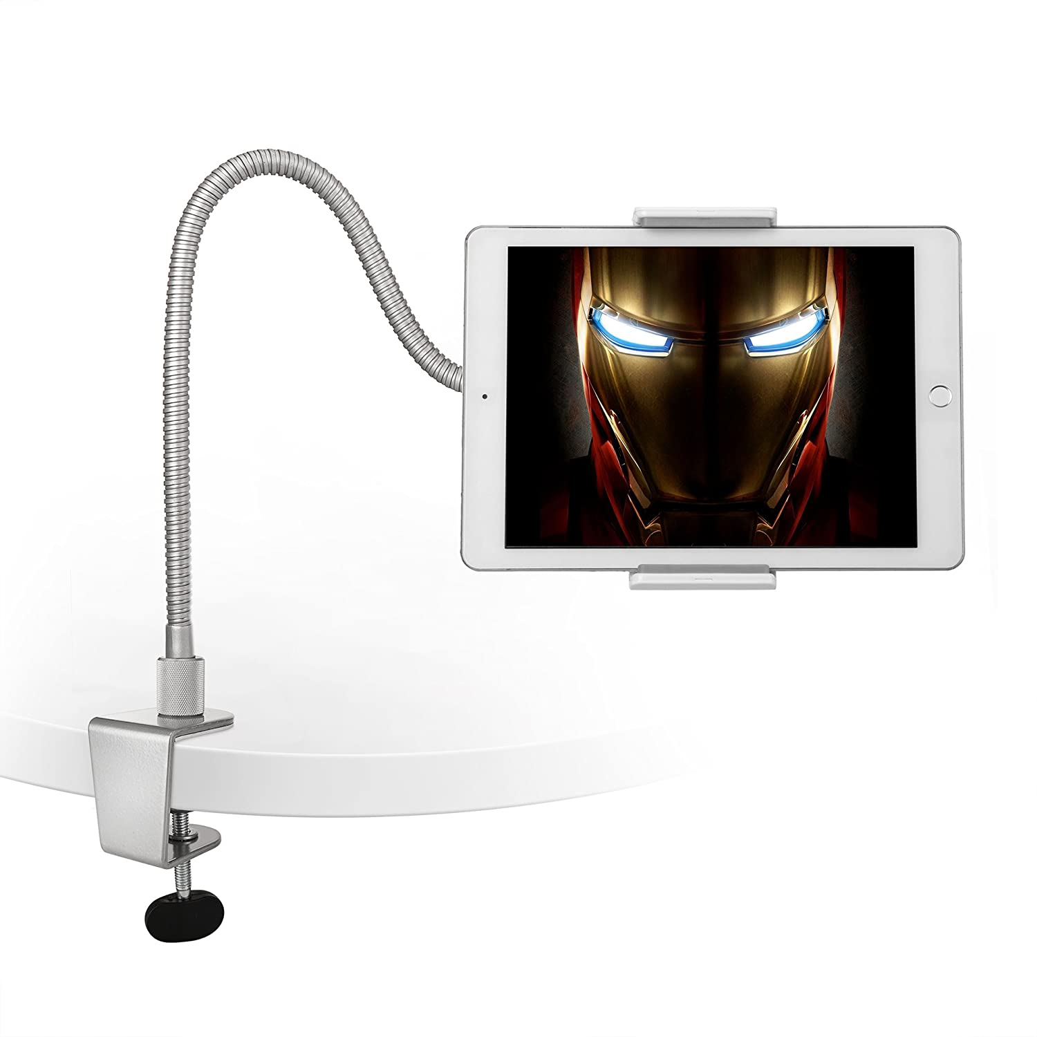 """AboveTEK Heavy Duty Aluminum Gooseneck iPad Holder, Cell Phone Desk Mount Tablet Holder iPad Stand for Office Kitchen Bed, Fits 3.5""""-10"""" iPad Android Tablet & Mobile iPhone X 8 7, Strong Flexible Arm"""