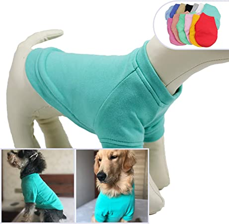 lovelonglong 2019 Dog Pullover Sweatshirt Autumn Winter Cold Weather Dog T-Shirts for Small Medium Large Size Dogs Yorkshire Terrier Pomeranian Clothes Sky-Blue S