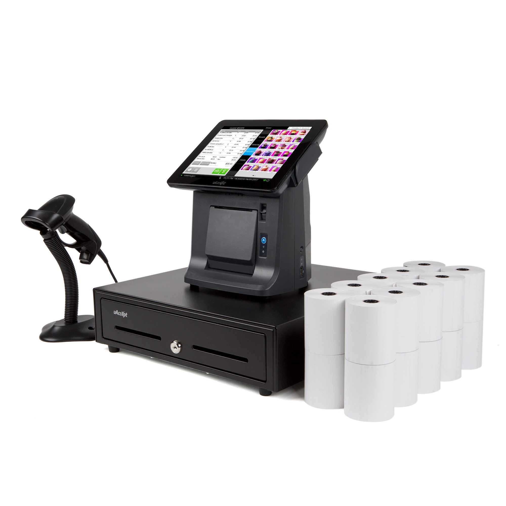 uAccept Complete POS Including 9.7'' Touch Screen, 20 Rolls of Thermal Receipt Paper, Barcode Scanner by Processing Point (Image #1)