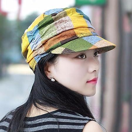 90dc11f4422 SAIBANGZI Hat Girl Autumn Hat Cotton Large Flat Top Hat Cap Lady Fashion Hat  British Temperament