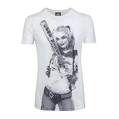 Suicide Squad Herren-T- Shirt Harley Quinn Goodnight Sketch (S) (Weiß
