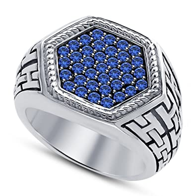 31bb1655943d0e Vorra Fashion White Platinum Plated Stamp With 925 Sterling Silver Round  Cut Blue Sapphire Fancy Hexagon Ring: Amazon.co.uk: Jewellery