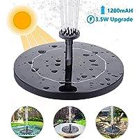 AISITIN Fuente Solar Bomba, 3.5W Fuente de Jardín Solar, Panel Solar Flotante de batería incorporada de 1500mAH con 6 boquillas, Muy Adecuado para pequeños estanques, decoración de Jardines