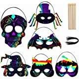 Max Fun 36PCS Magic Scratch Art Rainbow Scratch Halloween Mask Art Craft Kit with 36 Elastic Cords & 28 Wooden Styluses…