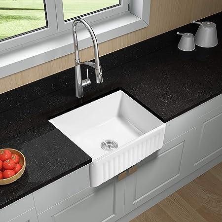 Hoooh 24 Inch Fireclay Sink Farmhouse Kitchen Sink - Single ...