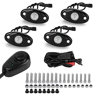 LED Rock Lights Kit for Jeep Truck Wheel Lights with Dimmer Switch, YITAMOTOR 4 Pods Single Color LED Neon Underglow Lights for Car ATV UTV Kayak Polaris RZR Offroad Boat (Green): Automotive