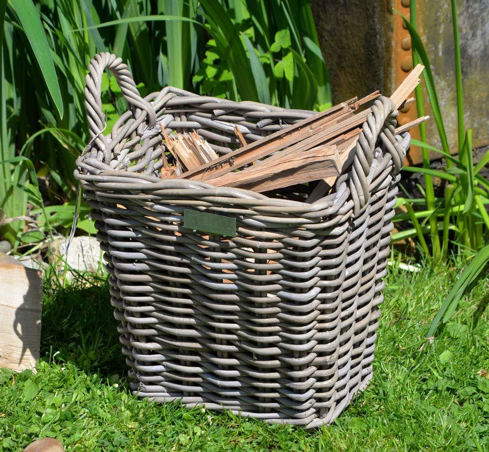 Grey Kindling Basket Small Log Basket Home Storage Basket High End harriets