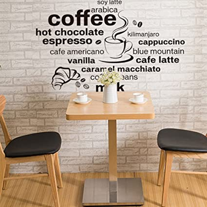 Amazon com: Wallpark Black English Letters - Coffee Drink