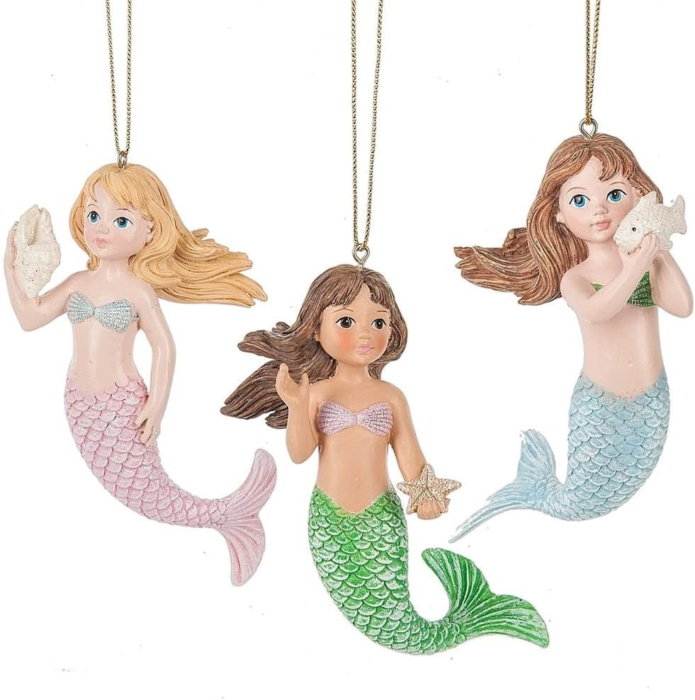Mermaids with Shells Christmas Holiday Ornaments Set of 3 Resin by Midwest-CBK133483