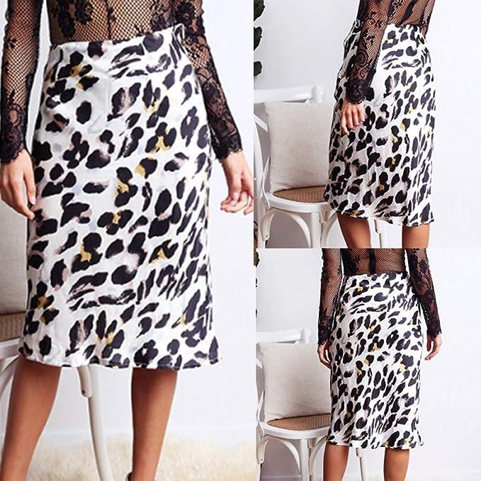 Falda de Mujer Leopardo, Falda Larga del Club del cóctel de la ...