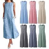 Extaum Women Plus Size Dress Linen Retro Print O Neck Sleeveless Side Pockets Summer Casual Maxi Party Beach Dress