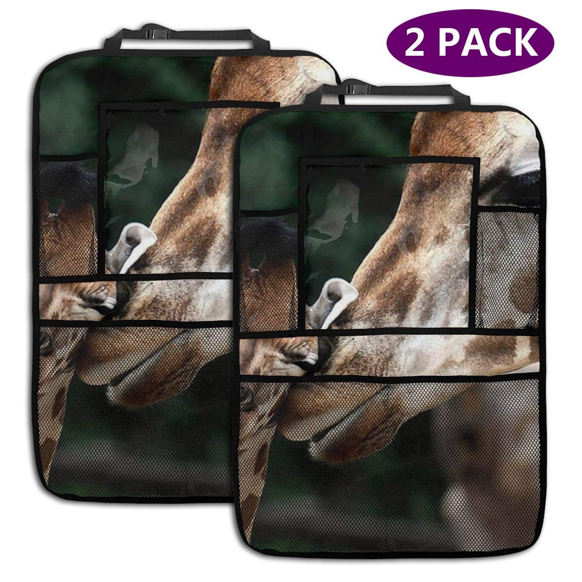 QF6FEICHAN Loving Giraffes Car Seat Back Protectors with Storage Pockets Kick Mats Accessories for Kids and Toddlers by QF6FEICHAN