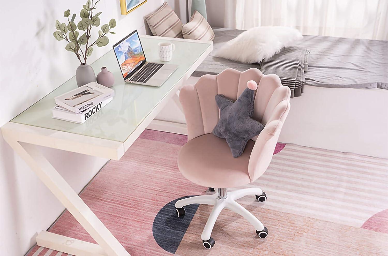 LYJBD hemmakontor stol sammetstyg | blomblad wrap design, justerbar svängbar rullning för vuxna och barn Mörkgrått