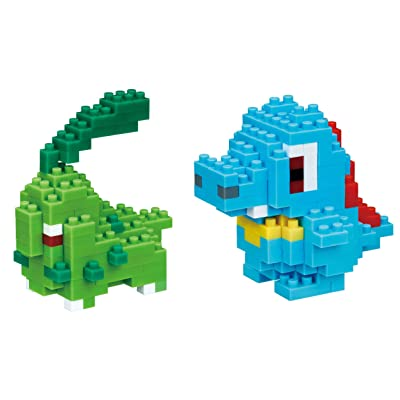 Nanoblocks - 2 Sets - Chikorita and Totodile (Waninoko in Japan) - Adjustable Pokemon Characters (Japan Import): Toys & Games