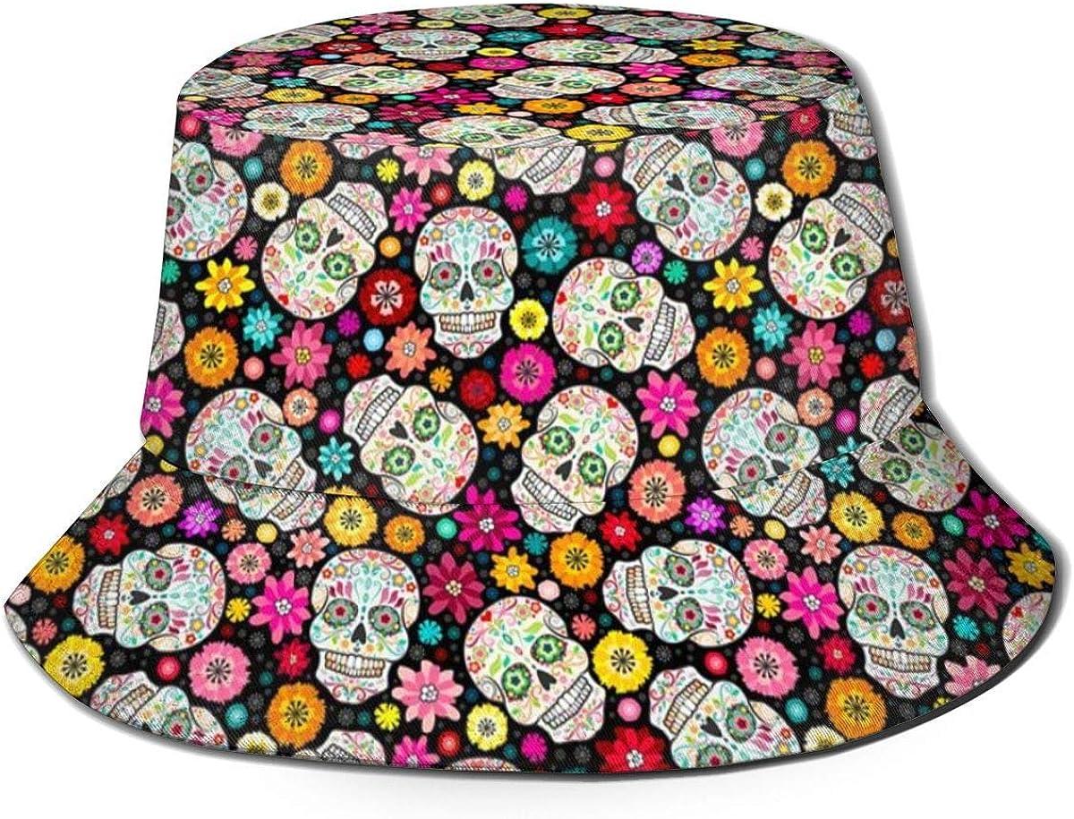XBYC Unisex Bucket Hat Moda Colorido Calaveras de azúcar UV Packable Fisherman Cap Black