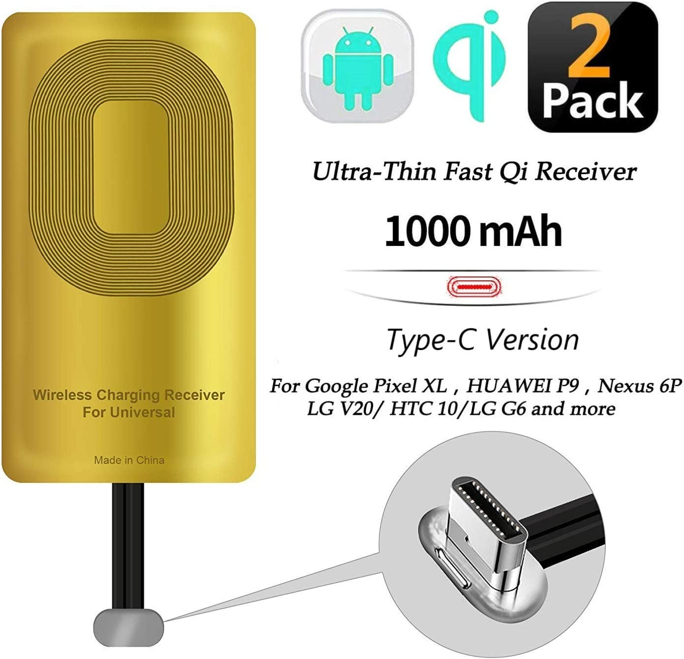 2 Pcs Fast QI Receiver Type C for Google Pixel 2 XL/-LG V20/G5-HTC 10–Google Nexus 6P-Huawei Mate 9/10/11 Ultra-Slim 5w 1000mAh Wireless Charging Receiver Adapter Compatible All Wireless Charger(2pcs)