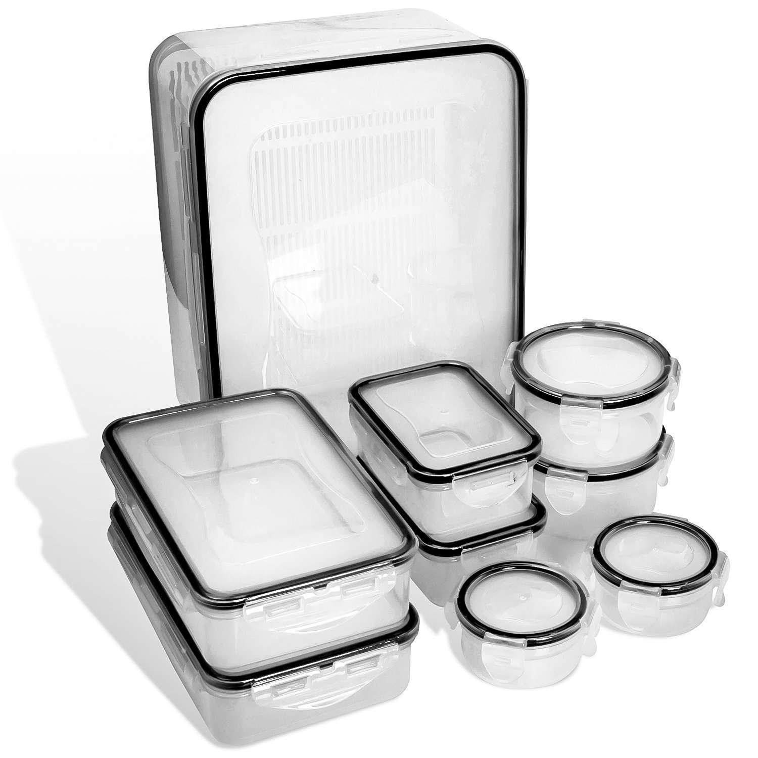 Food Storage Containers with Lids - Airtight Leak Proof Easy Snap Lock and BPA Free Clear Plastic Container Set for Kitchen Use by Fullstar (18 Piece Set) by Fullstar (Image #3)