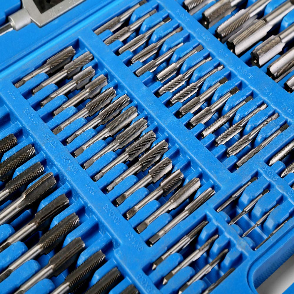 110 Piece Combination Tap and Die Set Alloy Steel 50°- 60° Metric Tools with Carrying Case + Free Glove Amazing Tour by FunTrip (Image #4)