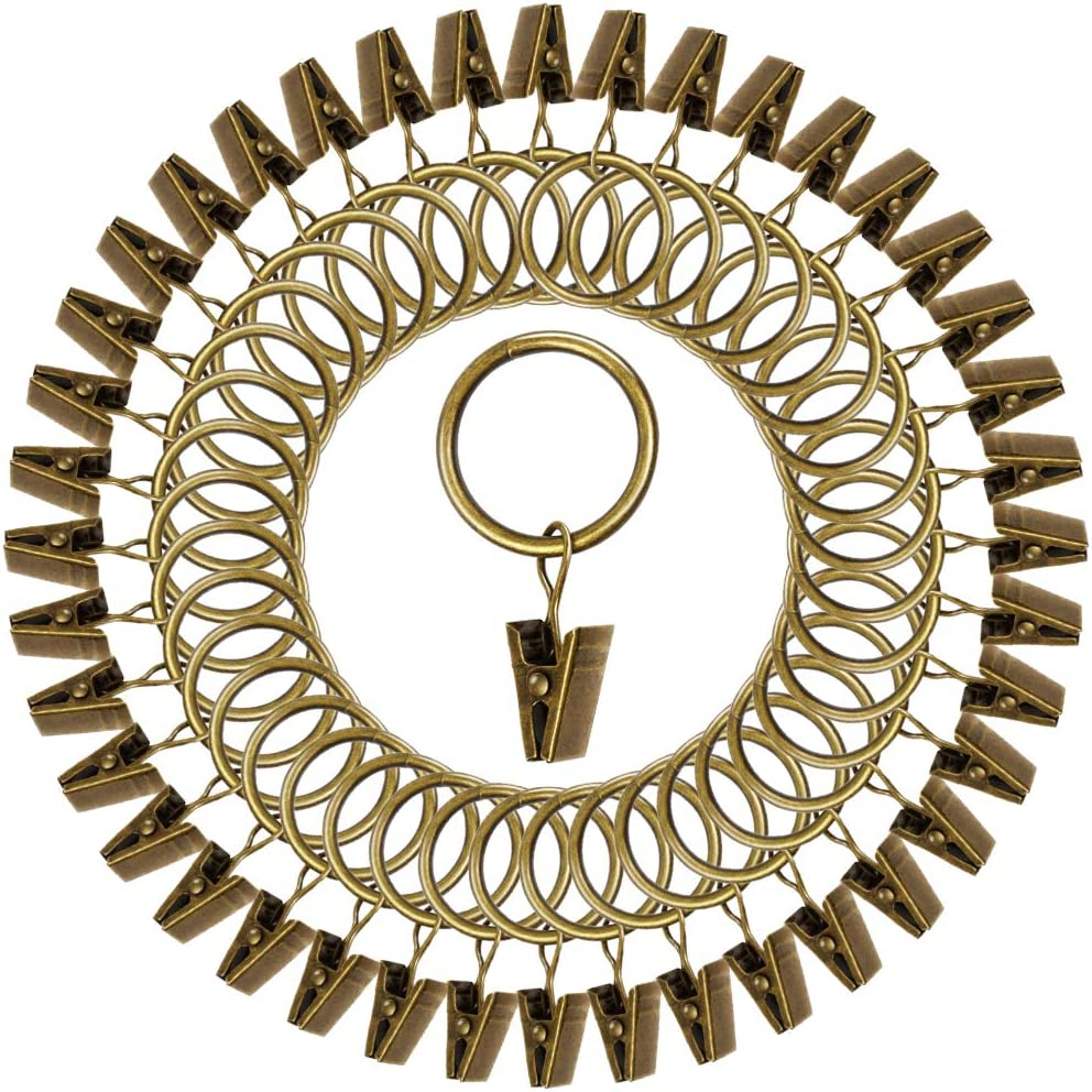 """Teenitor 40 Pack Curtain Clips, Strong Metal Decorative Rustproof Drapery Curtain Ring with Clip-1.18"""" OD-Bronze"""