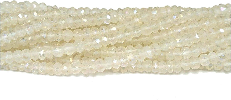 Neerupam Collection Natural Arco Iris Blanco facetado Granos Flojos Semi Piedra Preciosa rondelle para la elaboración de Joyas Collar Pendiente de la Pulsera 2 mm 3 mm 4 mm 5 mm 6 mm 7mm 8mm