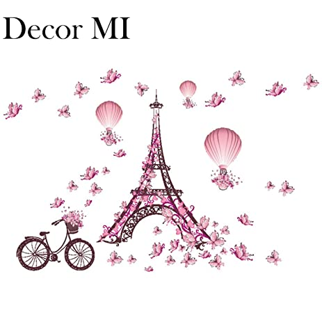 Decor MI Romance Eiffel Tower Paris Tower Butterfly Balloon Wall Decal  Stickers Waterproof Removable Background Wall