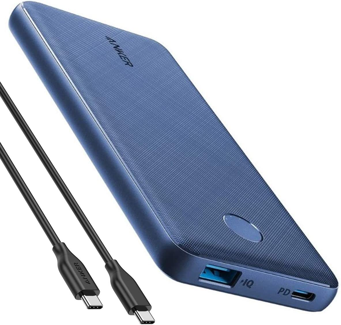 Anker PowerCore Slim 10000 PD 10000mAh Portable Charger USB-C Power Delivery (18W) Power Bank for iPhone 8/8+/X/XS/XR/XS Max, Samsung Galaxy S10, Pixel 3/3XL, iPad Pro 2018, and More (Deep-Sea Indigo)