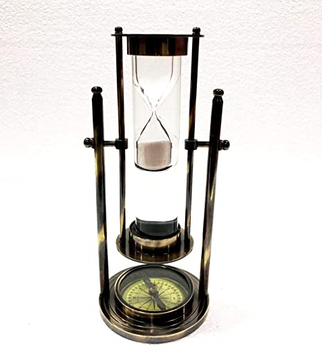 Amazon Com Revolving White Sand Timer 9 Antique Solid Brass Ship Maritime Wheel Hourglass With Compass Home Kitchen