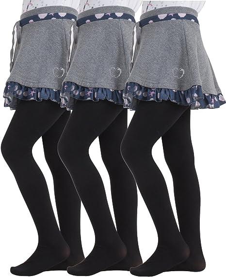 WB Socks Girls Plain Black Tights 4 pairs per pack