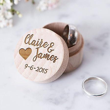 happygoluck1y - Caja de madera para anillos de boda personalizable con nombre y fecha, corazón de madera