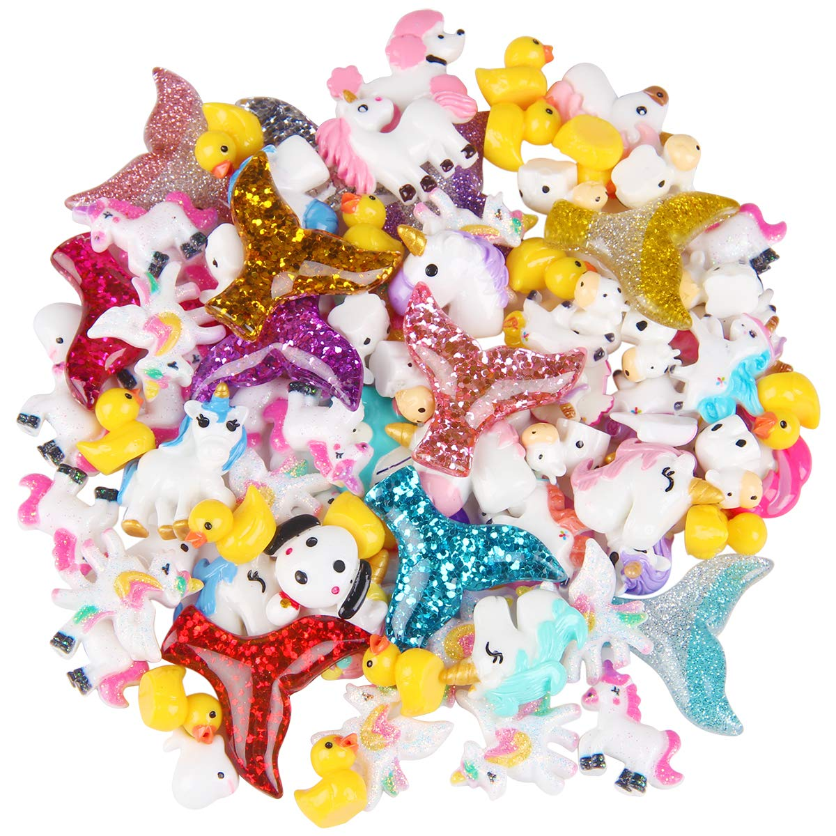 Youth Union 103Pcs Slime Charms with Mermaid Tail Unicorn Resin Flatback Ducks of Slime Beads Mixed for Ornament Scrapbooking DIY Crafts 4336984069