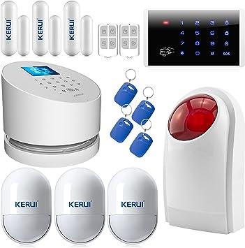 KERUI 2,4 G Wifi sistema de alarma, W2 GSM teléfono fijo inalámbrico casa de seguridad antirrobo con alto al aire libre sirena DIY Kit de marcado automático: Amazon.es: Bricolaje y herramientas