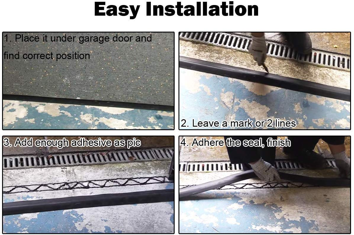 SEAAN Tira de sellado del umbral inferior de la puerta de garaje universal 20 pies, negro reemplazo de burletes de caucho resistente a la intemperie no incluye sellador//adhesivo