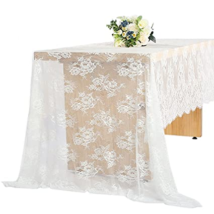 Charmant 60 X 120 Inch Vintage Wedding White Lace Tablecloths, Rose Floral Lace  Table Runner Overlay