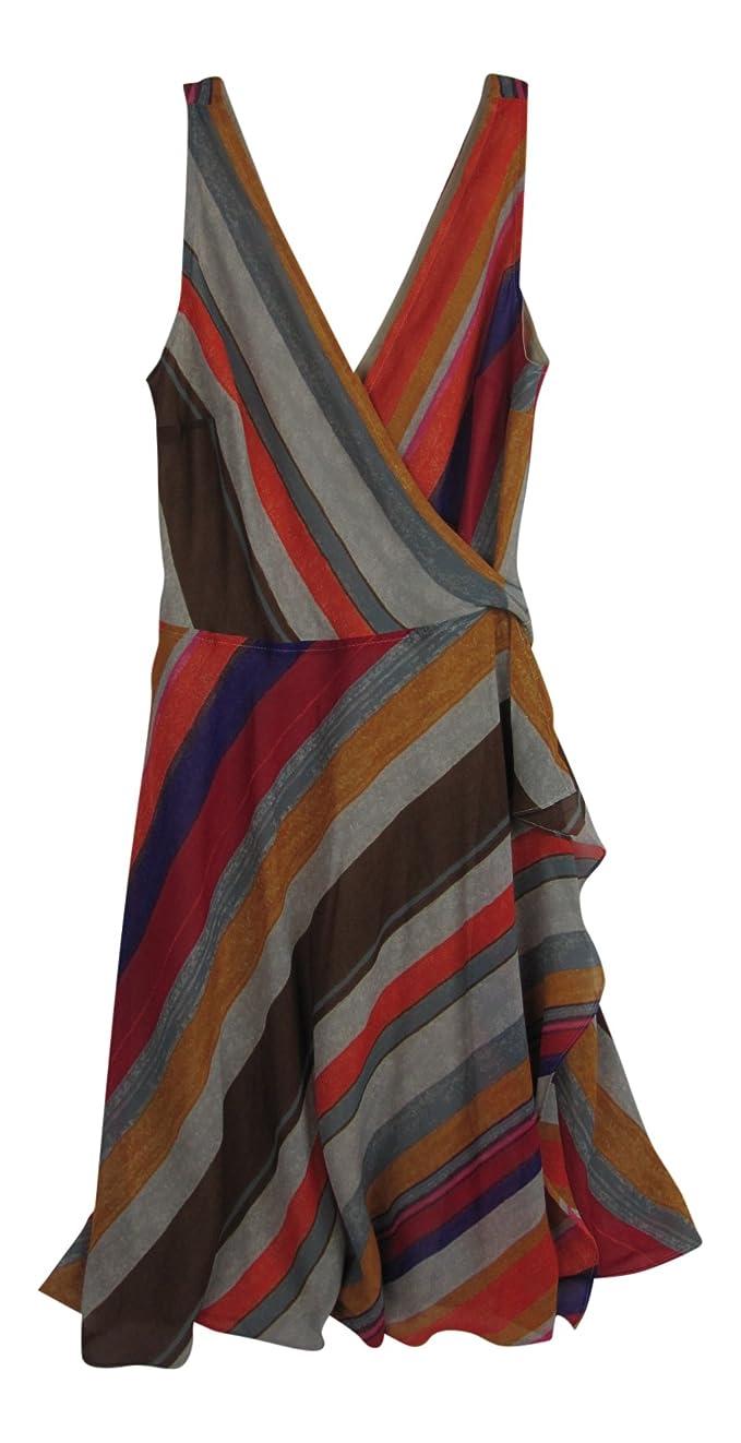Top Lauren by Ralph Lauren Womens Chiffon Striped Wrap Dress