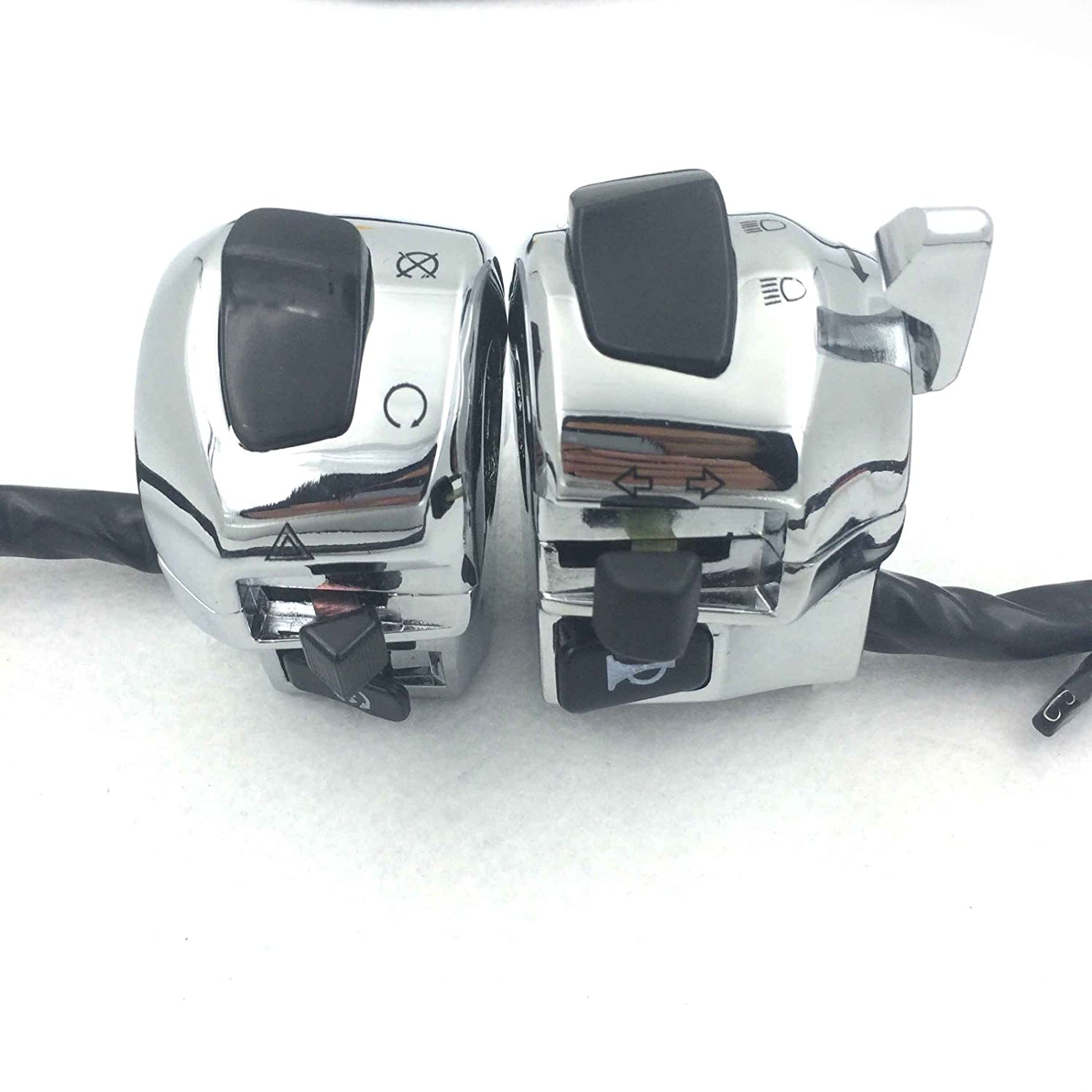 SMT GROUP Chrome LEFT+RIGHT Switch Fit for Suzuki GSX-R600/GSX-R750/GSX-R1000/TL1000/Hayabusa GSX1300R US Model SMT-MOTO