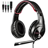 LETTON Stereo Gaming Headset for Xbox One, PS4, PC, Over Ear Headphones with Noise Cancelling Mic, Volume Controller, Bass Su