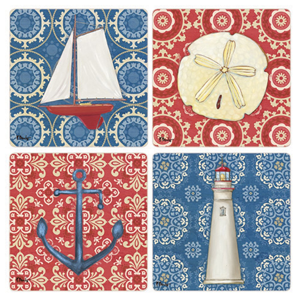 CoasterStone Nautical Chic Absorbent Coasters 4-1//4 Multicolor 4-1//4 AS10111 Set of 4