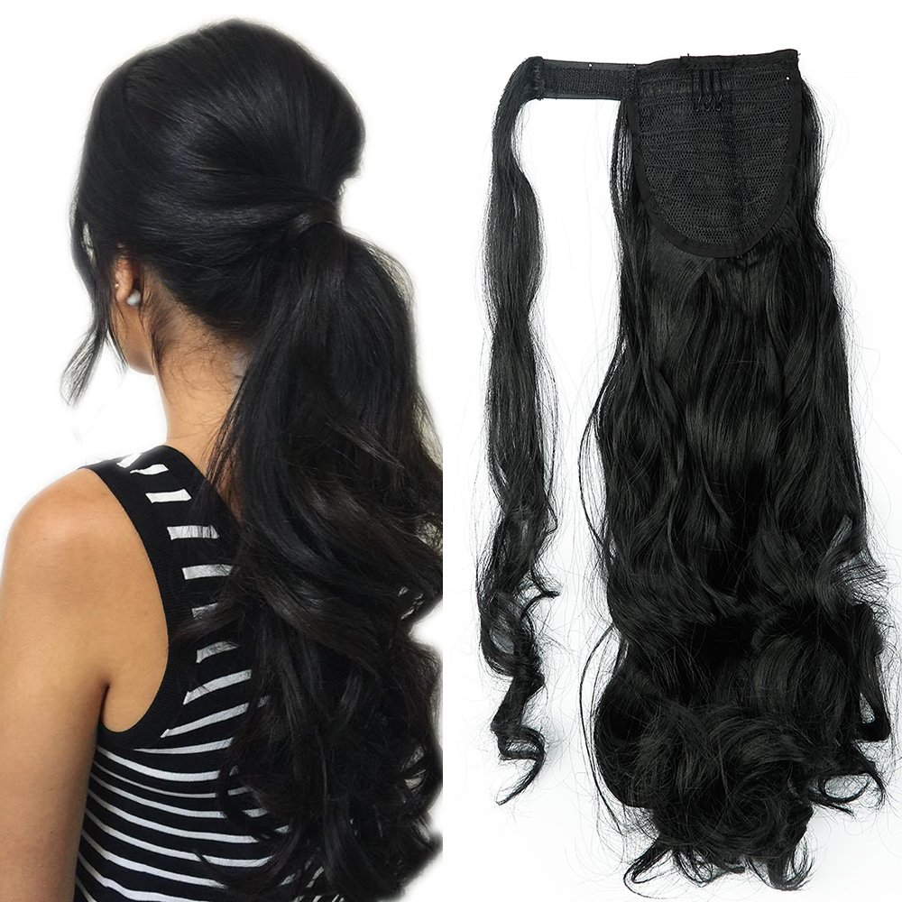 Wrap Around Ponytail Clip In Hair Extensions Curly Wavy One Piece